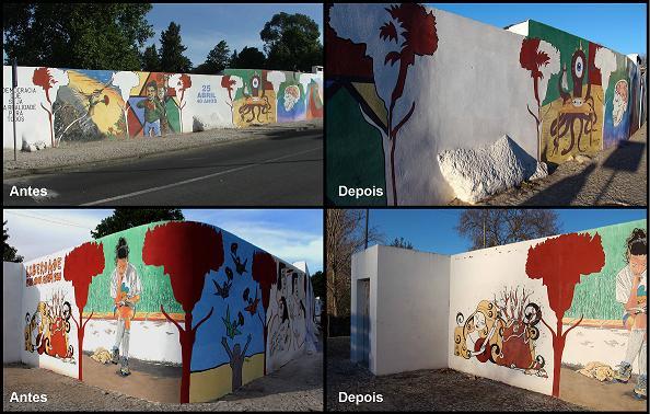 Évora: Mural evocativo do 25 de Abril vandalizado