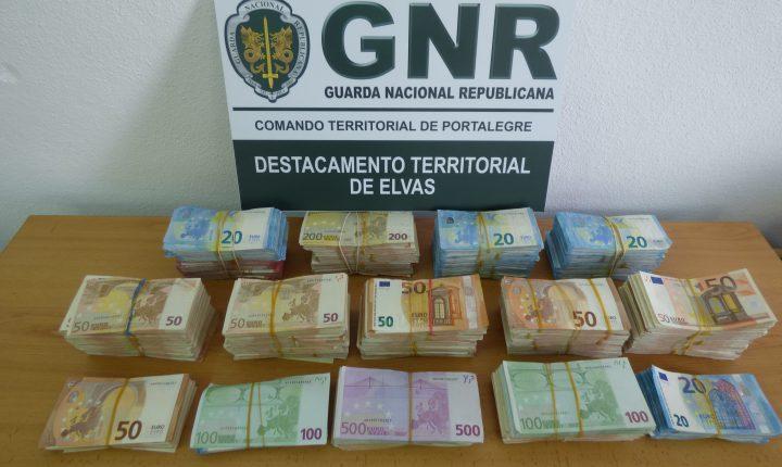 Elvas: Nova apreensão de mais de 200 mil euros