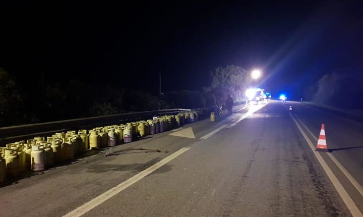 Despiste de camião que transportava gás em Vendas Novas corta estrada