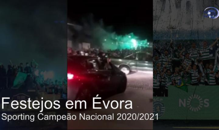 Évora vestiu-se de verde para festejar o título do Sporting